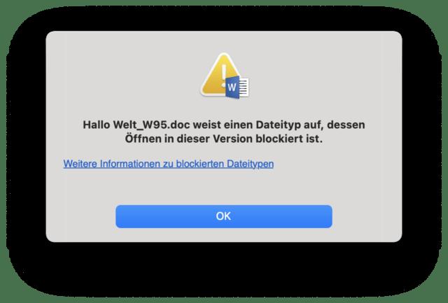 Alte Word-Datei: Der Mac meckert.