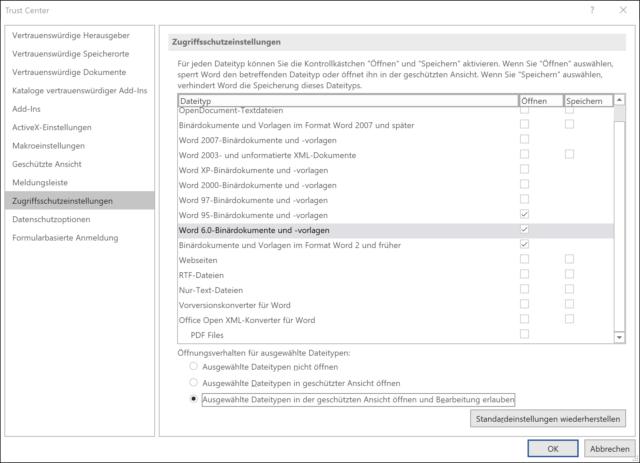 Über das Word-Sicherheitszentrum könnt Ihr gesperrte alte Dateitypen freigeben.