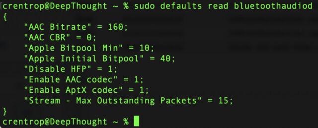 Mit einem Terminal-Befehl könnt Ihr die Audio-Einstellungen von Bluetooth prüfen.