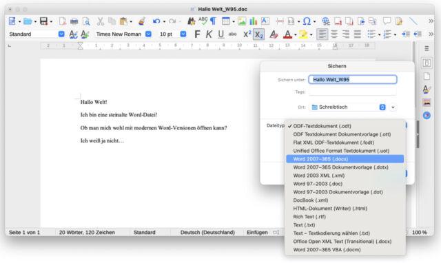 Die einfachste Methode: LibreOffice verwenden – das klappt unter MacOS, Linux und Windows.