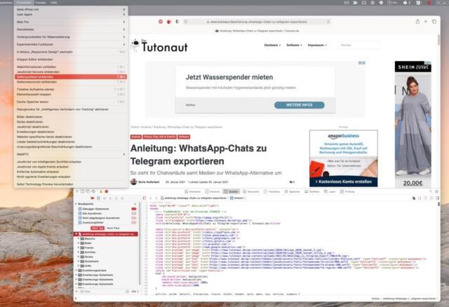 Safari Entwickleroptionen Seitenquelltext anzeigen