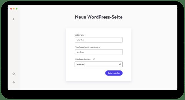 Vergebt einen Seitennamen und erstellt einen Administrator-Konto für Wordpress.