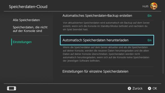 Speicherdaten-Cloud Nintendo Switch