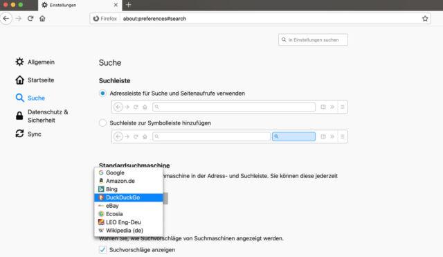 Auch Firefox ermöglicht ein schnelles Umstellen der integrierten Suchmaschine.