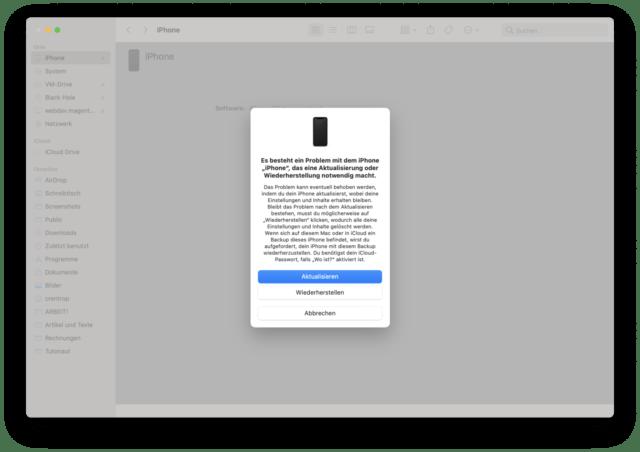 Ist das iPhone im Wartungsmodus, meldet sich iTunes oder der Finder.