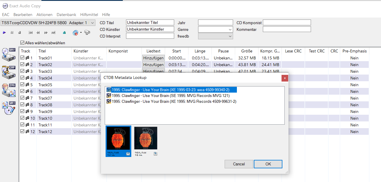 exact audio copy screenshot