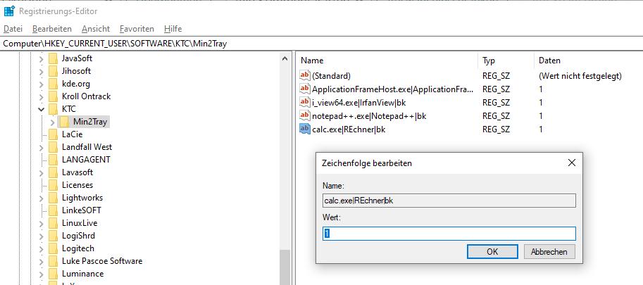 Min2Tray-Einträge im Registry Editor