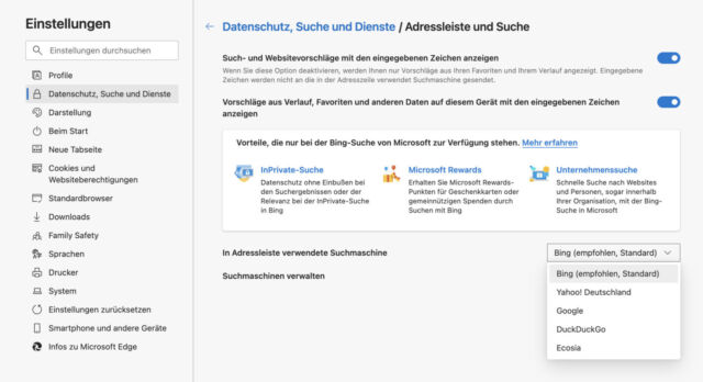 Microsoft versteckt die Suchmaschinen-Einstellung in einem Untermenü.