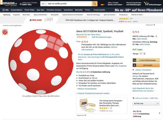 Der rote Punkteball ist Standard in jedem Kinderbuch – aber 328 Bewertungen?