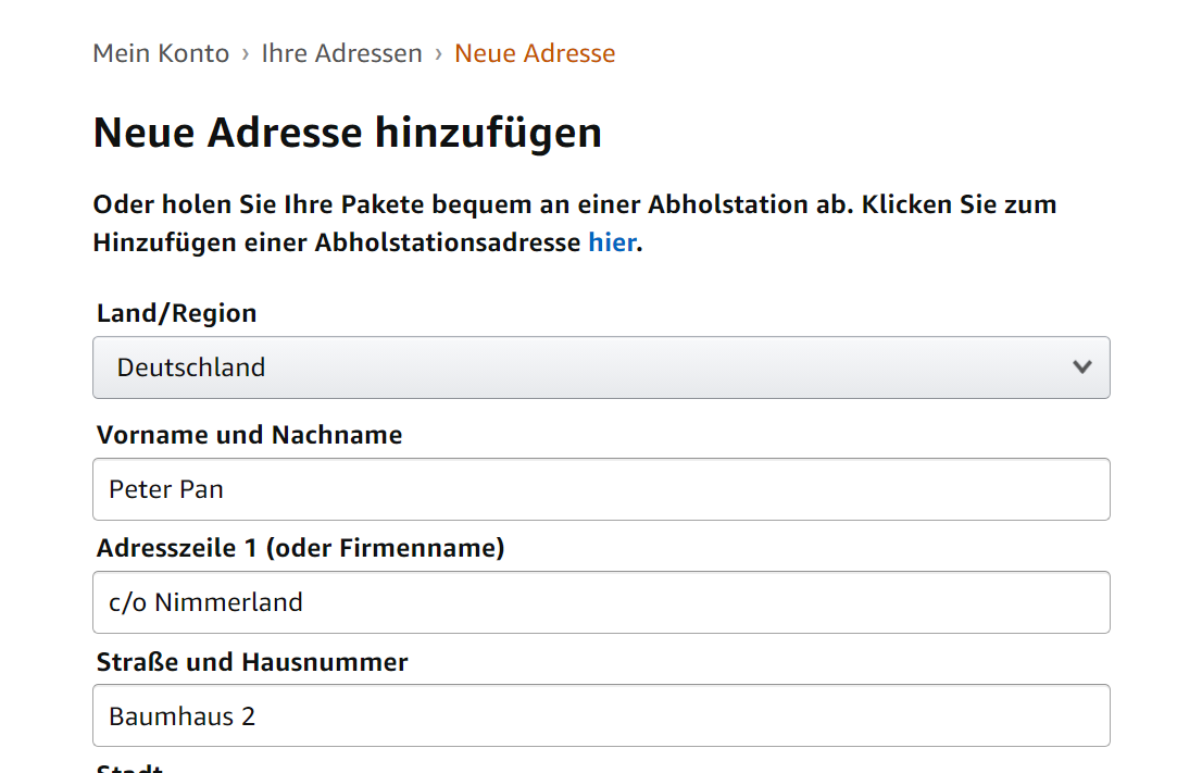 amazon adresse ändern screenshot