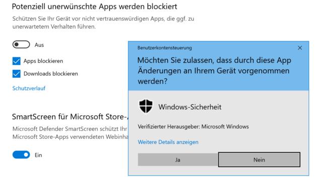 Windows erkennt potentiell gefährliche Apps: Tritt ein Fehler beim Download auf, solltet Ihr die Funktion temporär abschalten.