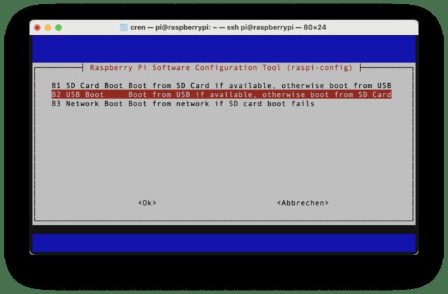 Ist das System aktuell, findet ihr in der Raspi-Konfiguration den USB-Boot.