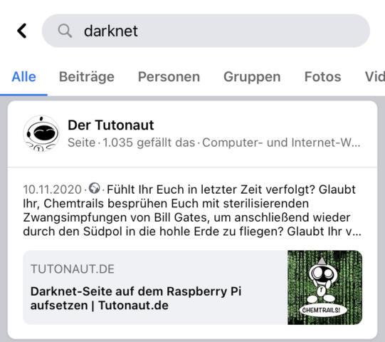 Ihr könnt die Darknet-Suche einfach in der Facebook-App aktivieren.
