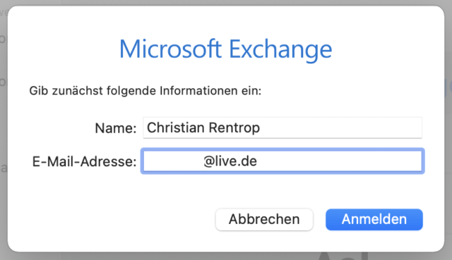 Microsoft-Mailadresse eingeben und anmelden.