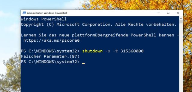 windows shutdown parameter