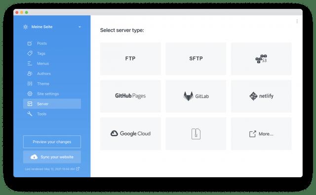 Der technische Overhead von Publii beschränkt sich auf die Auswahl des Servertyps für den Upload.