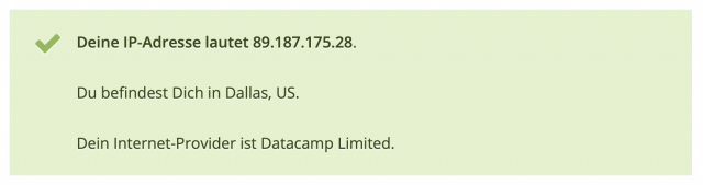 Natürlich befinden wir uns nicht in Dallas. Aber der VPN-Router funktioniert.