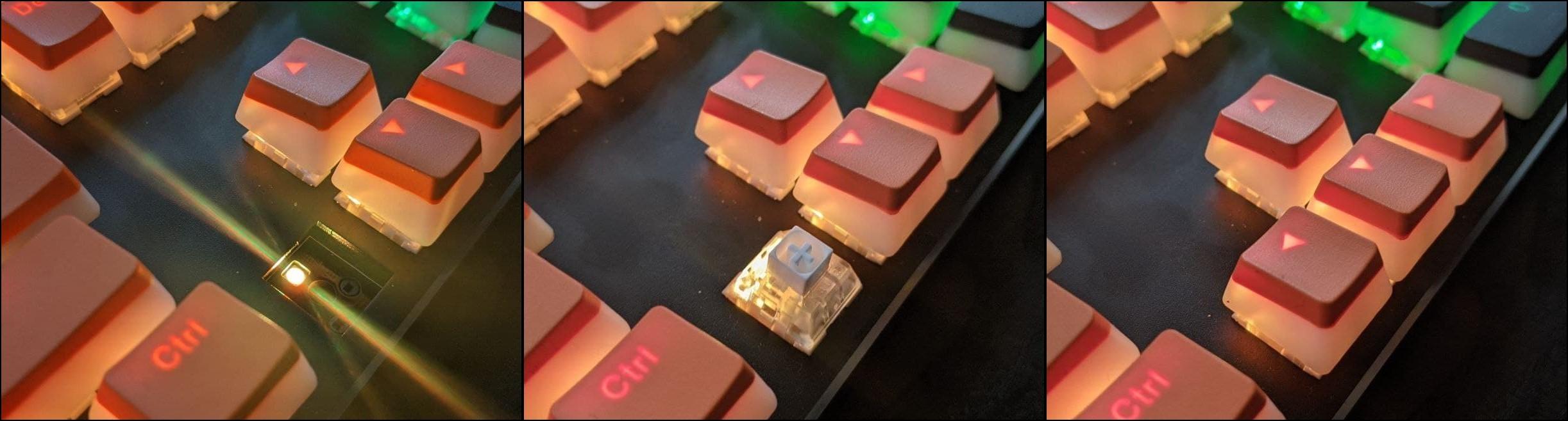 beleuchtung einer mechanischen tastatur im foto