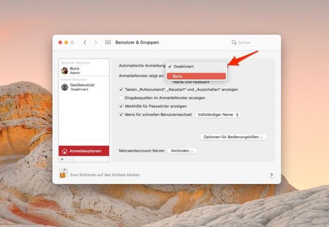 macOS automatische Anmeldung aktivieren