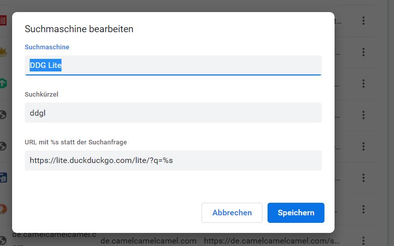DDG Lite als Suchmaschine in Chrome