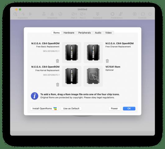 VirtualC64 funktioniert nur mit den passenden Rom-Dateien.