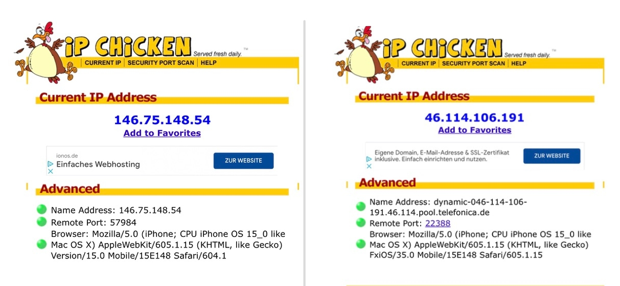 iPhone 15 Private Relay IP-Adresse