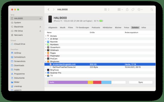 Der per App erstellte Klingelton liegt in der Ordnerstruktur des iPhones. Ihr müsst den Ton zunächst auf Euren PC oder Mac spielen.