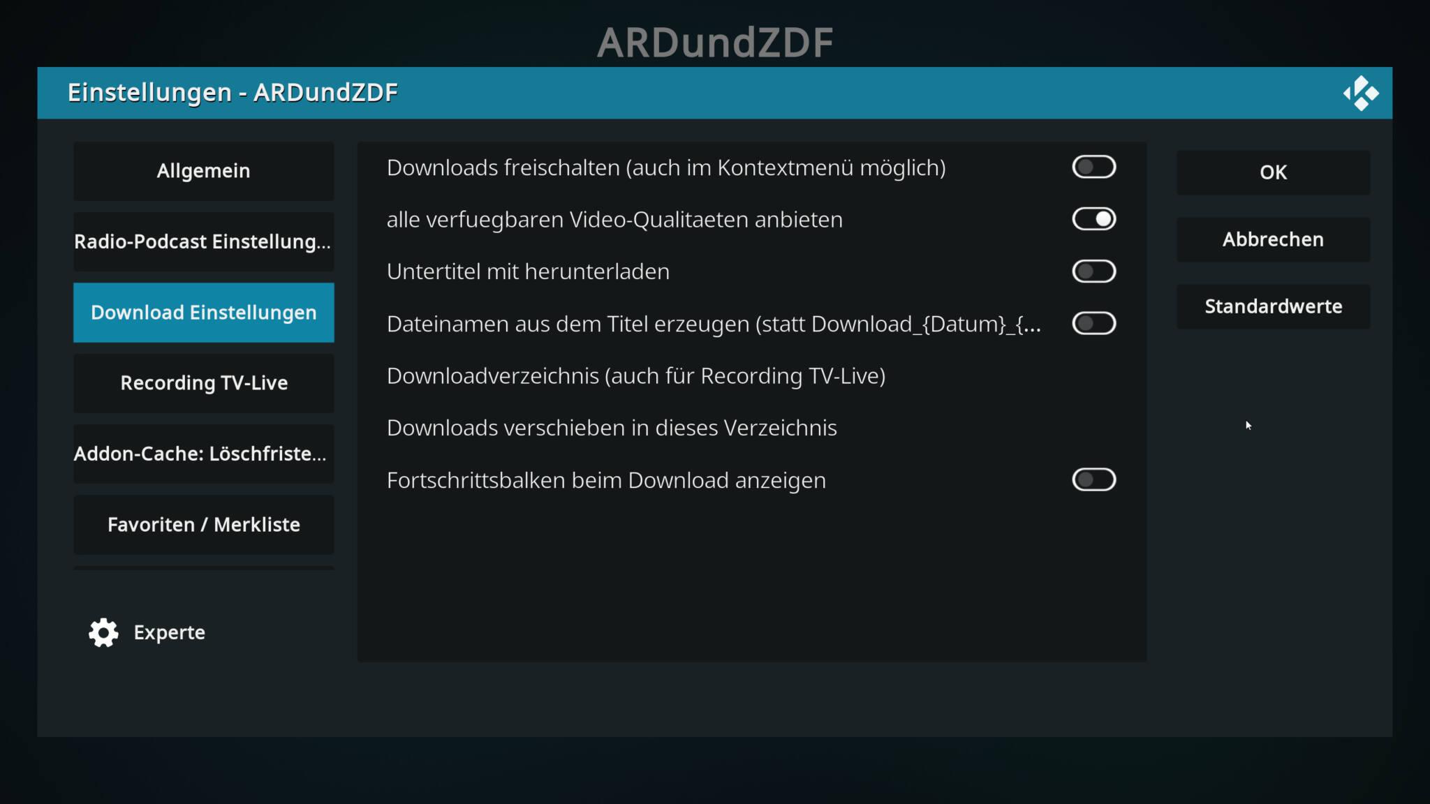 addon-einstellungen in kodi 19 von der zdf-app.
