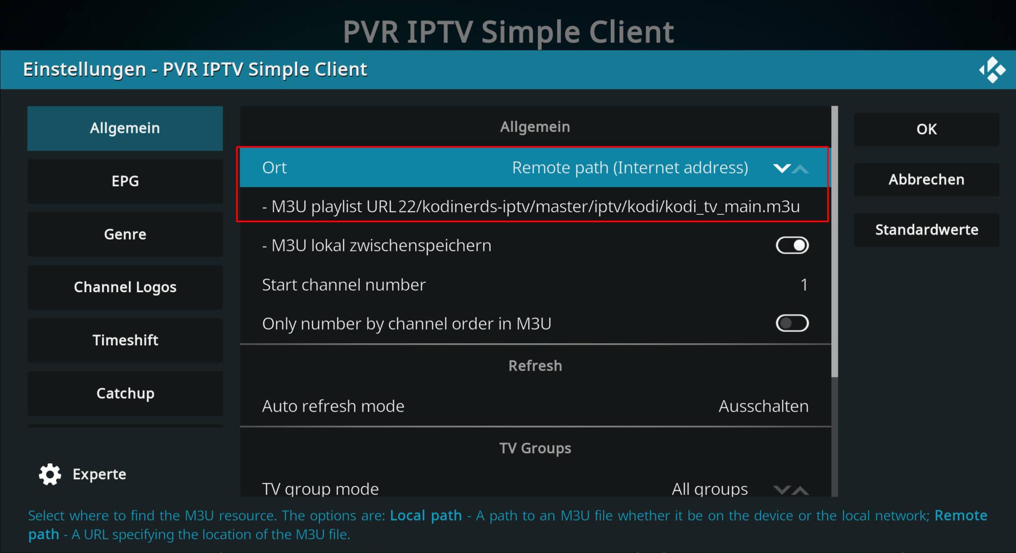 einstellungen vom addon pvr iptv simple client in kodi 19 matrix.