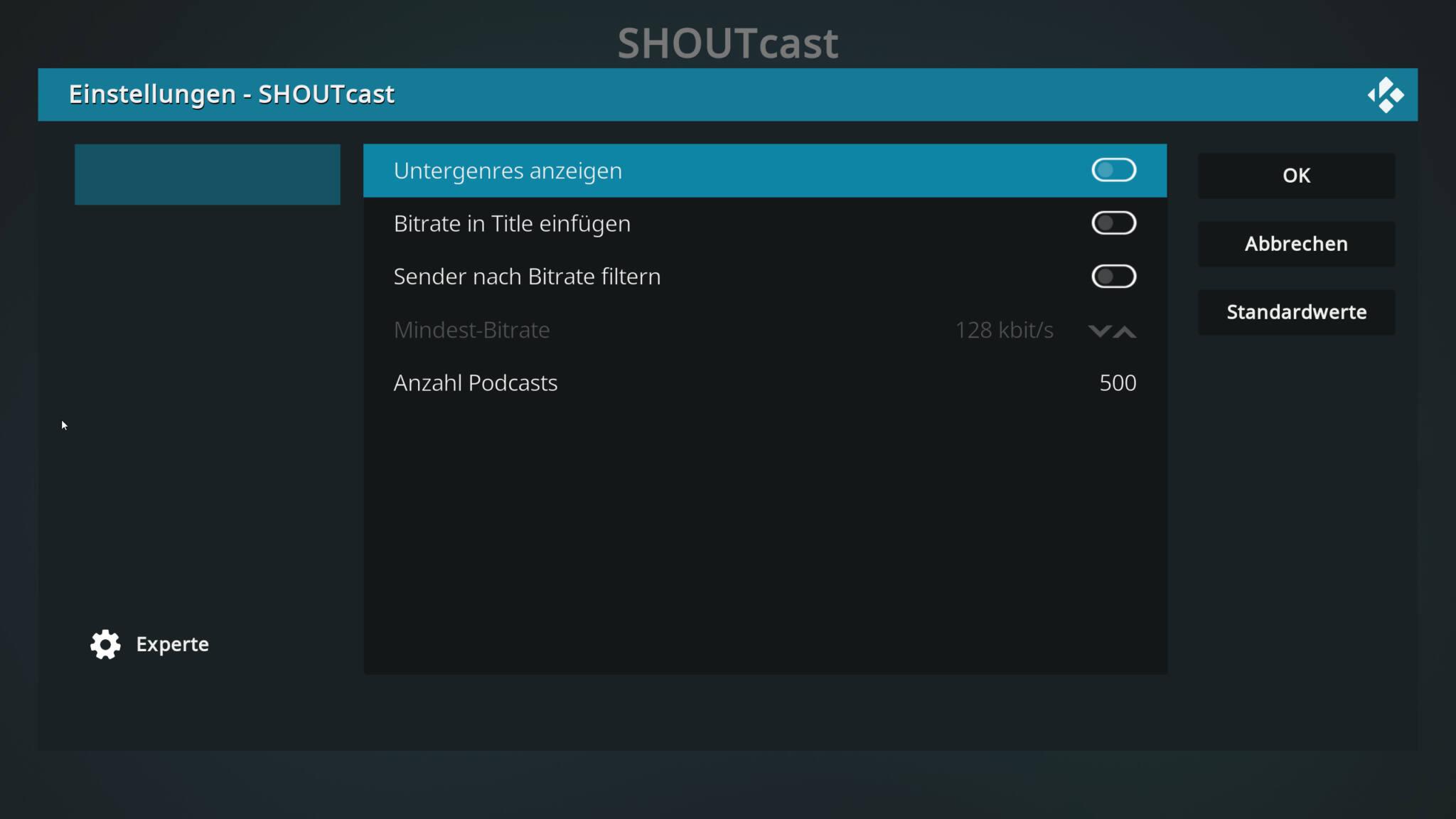 shoutcast-einstellungen des addons in kodi.