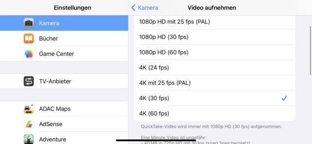Moderne Smartphones (hier das iPhone 11) erlauben eine ganze Reihe von Video-Bildraten und Auflösungen.