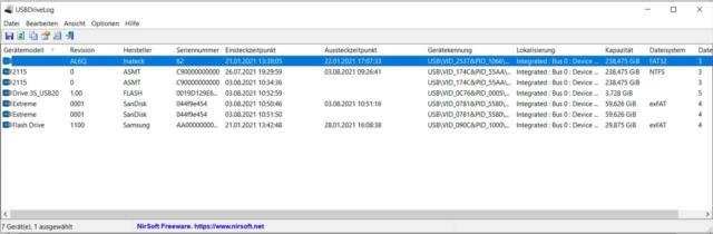 NirSoft USBDriveLog-Deutsch