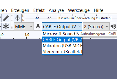 mikroauswahl in audacity.