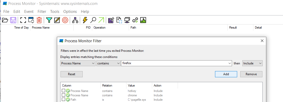 filter in process monitor.