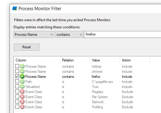 filterliste in procmon.