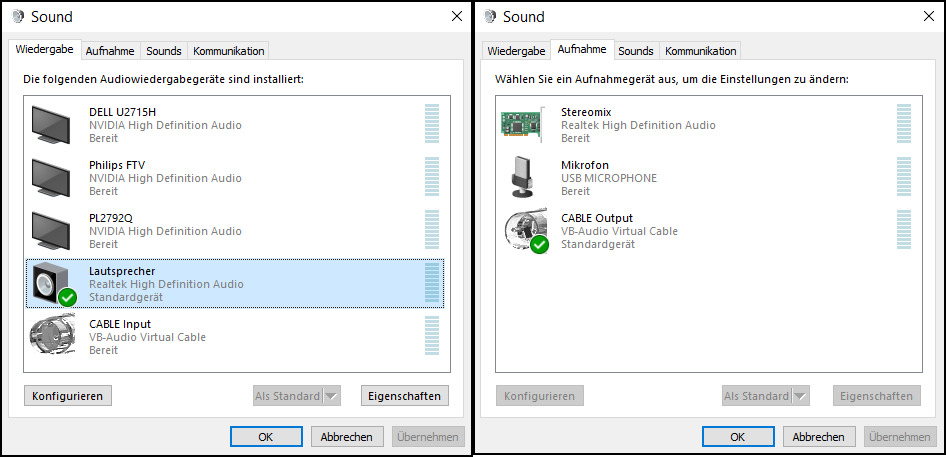 virtuelle audio devices in windows-dialog.