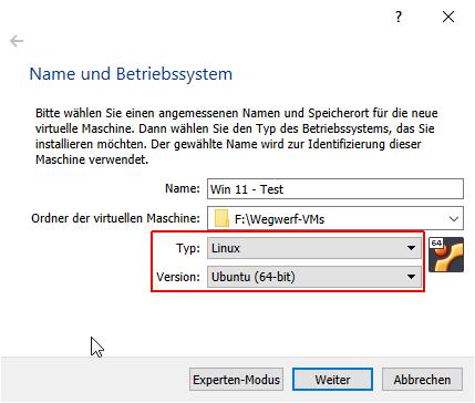 einstellungen von virtualbox für eine windows-11-vm.