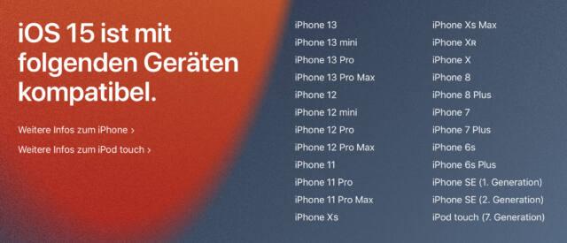 iOS 15 gibt's für eine ganze Reihe alter iPhones. (Screenshot: Apple.de)