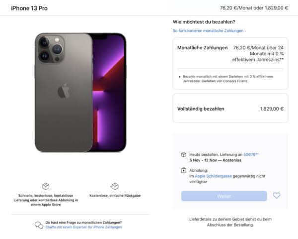 Für das Geld gibt's drei bis vier Androiden. (Screenshot Apple.de)