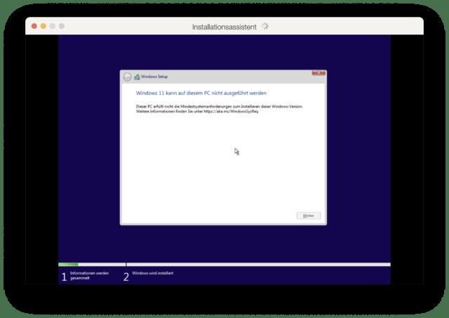 """Ärgerliche Fehlermeldung in Parallels: """"Dieser PC erfüllt nicht die Mindestsystemanforderungen zum Installieren dieser Windows-Version""""."""